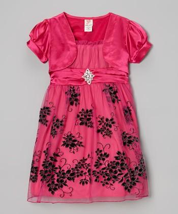 Fuchsia Shrug & Floral A-Line Dress - Toddler & Girls