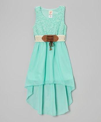 Mint Belted Hi-Low Dress - Girls