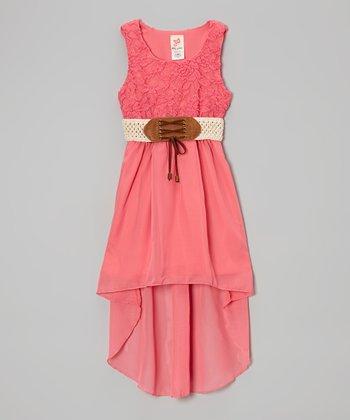 Coral Belted Hi-Low Dress - Girls