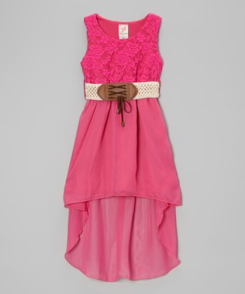Fuchsia Belted Hi-Low Dress - Girls