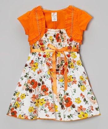 Orange Shrug & Floral Shirred A-Line Dress Set - Toddler & Girls