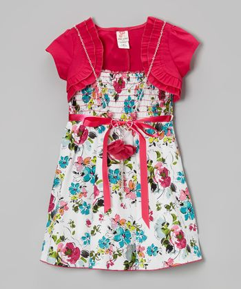 Fuchsia Shrug & Floral Shirred A-Line Dress Set - Toddler & Girls