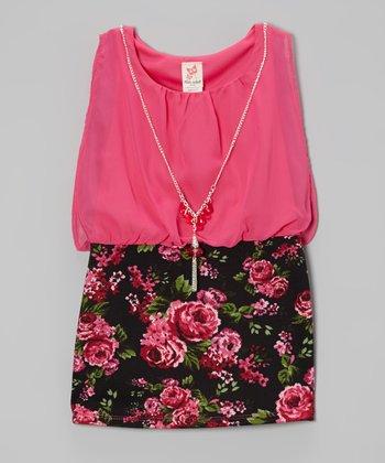 Fuchsia & Black Floral Dress & Necklace - Girls