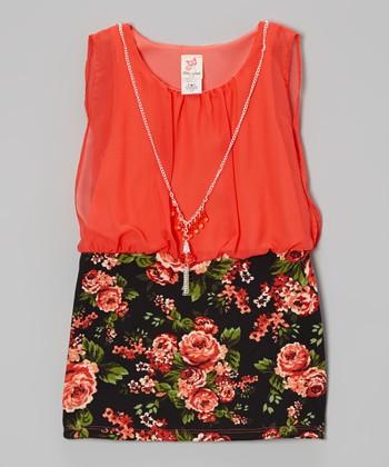 Coral & Black Floral Dress & Necklace - Girls