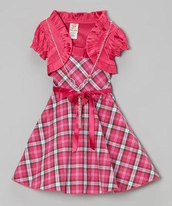 Fuchsia Plaid A-Line Dress Set - Girls