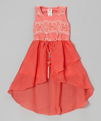 Coral Lace Hi-Low Dress & Necklace - Girls