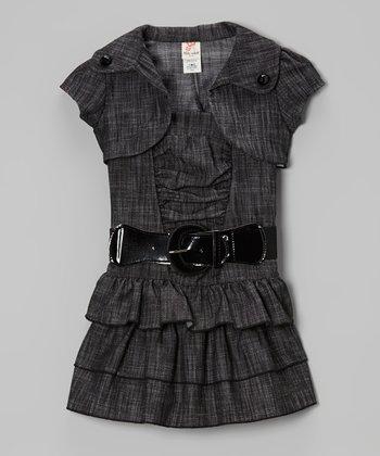 Charcoal Shrug & Ruffle Belted Dress Set - Toddler & Girls