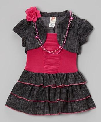 Denim & Fuchsia Ruffle Belted Dress Set - Toddler & Girls