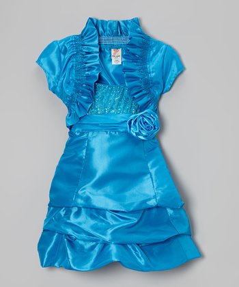 Blue Shrug & Tiered Dress & Shrug - Toddler & Girls