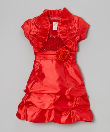 Red Shrug & Tiered Dress & Shrug - Toddler & Girls