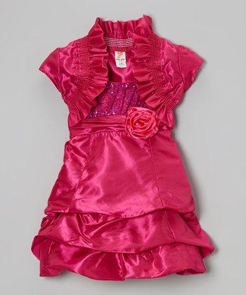 Fuchsia Shrug & Tiered Dress & Shrug - Toddler & Girls