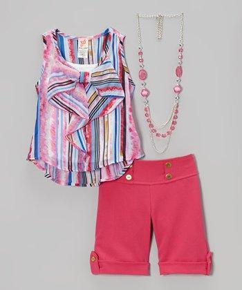 Pink Stripe Hi-Low Tank Set - Girls