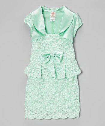 Mint Shrug & Lace Peplum Dress - Girls