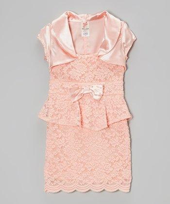 Peach Shrug & Lace Peplum Dress - Girls