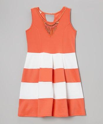Coral Color Block Shift Dress & Necklace - Toddler & Girls
