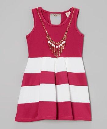 Fuchsia Color Block Shift Dress & Necklace - Toddler & Girls