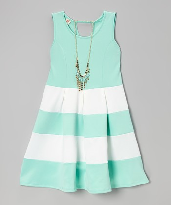 Mint Color Block Shift Dress & Necklace - Toddler & Girls