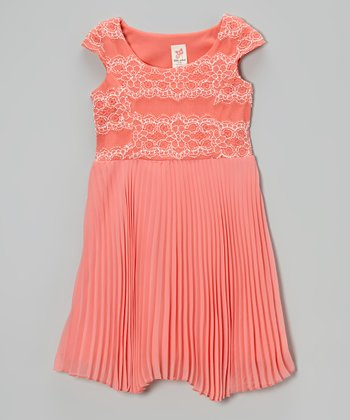Coral Lace Pleated Cap-Sleeve Dress - Toddler & Girls