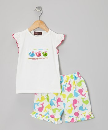 White Rainbow Whale Top & Shorts - Infant, Toddler & Girls