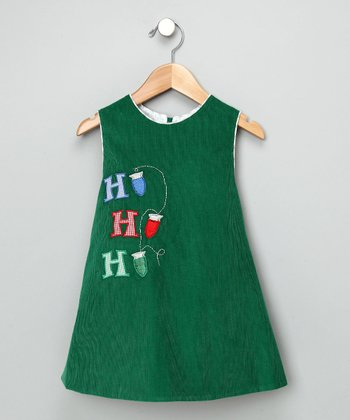 Kelly Green Polly Corduroy Dress with Lights - Toddler