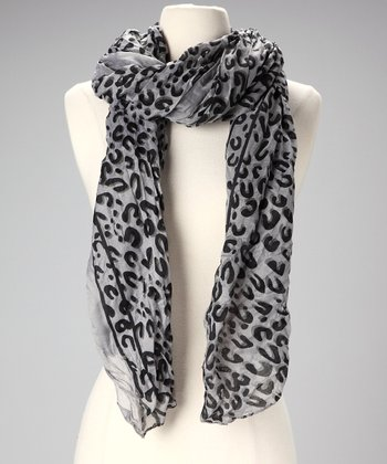 Gray & Black Leopard Scarf