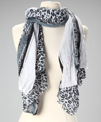 White & Black Leopard Scarf