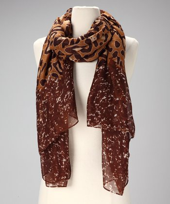 Tan & Brown Leopard-Print Scarf