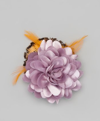 Dusty Purple & Orange Flower Clip