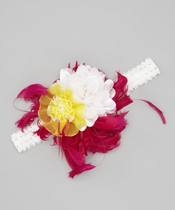 Fuchsia & Yellow Flower Headband