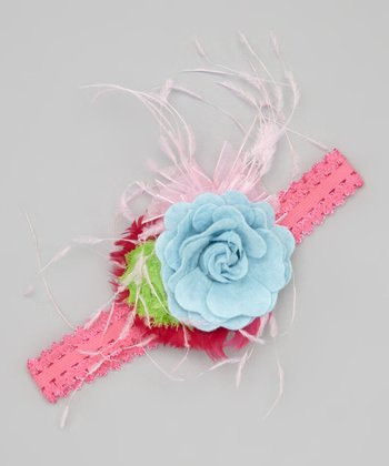 Light Blue & Pink Flower Headband