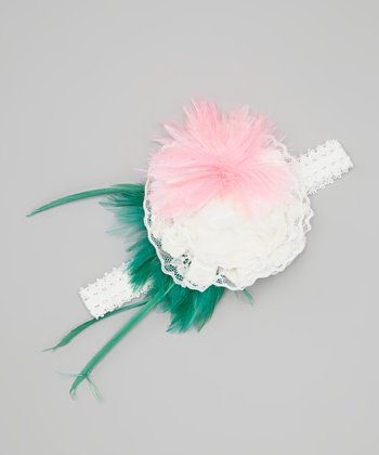 Neon Pink & Mint Flower Headband