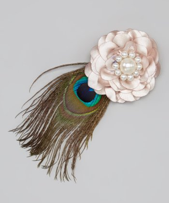 Tan Flower & Peacock Feather Clip