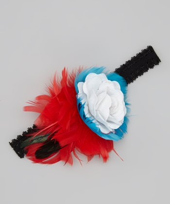 Turquoise & Red Flower Headband