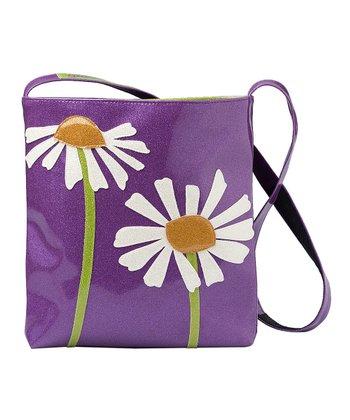 glittersweet Purple Daisy Sling Tote