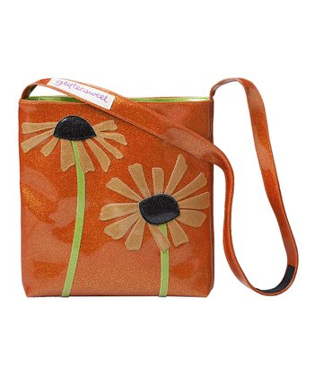 glittersweet Tangerine & Tan Daisy Sling Tote