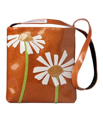 glittersweet Tangerine & White Daisy Sling Tote