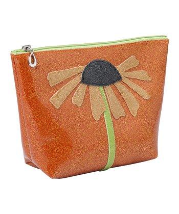 glittersweet Tangerine & Tan Daisy Travel Case