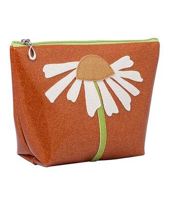glittersweet Tangerine & White Daisy Travel Case