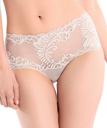 Oyster Lace Feathers High-Waisted Briefs