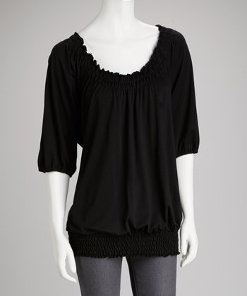 Black Slit-Sleeve Peasant Top