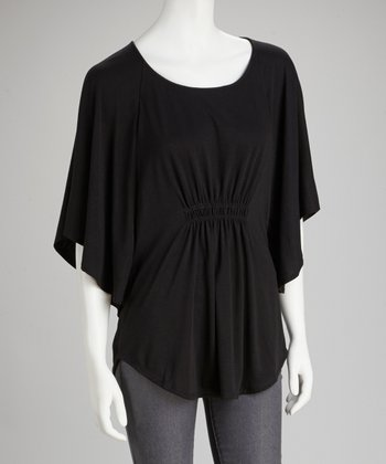 Black Shirred Cape-Sleeve Top