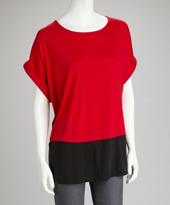 Red & Black Color Block Cuff-Sleeve Top