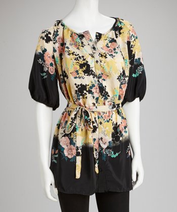 Black & Yellow Floral Button-Up Peasant Top