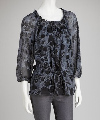 Black & Charcoal Floral Peasant Top