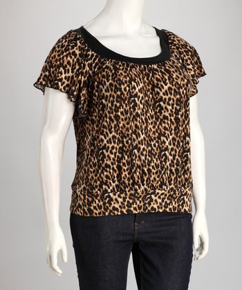 Black & Beige Leopard Plus-Size Angel-Sleeve Top