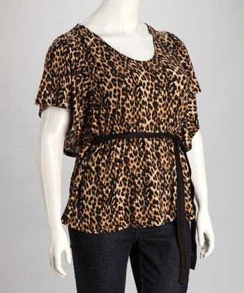 Brown Leopard Plus-Size Cape-Sleeve Top