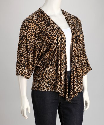 Black & Beige Leopard Plus-Size Open Cardigan