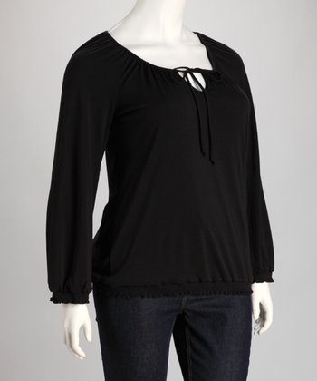 Black Keyhole Peasant Top - Plus