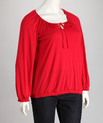 Red Keyhole Peasant Top - Plus