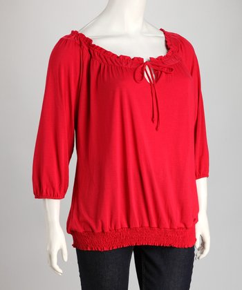 Red Ruffle Keyhole Peasant Top - Plus
